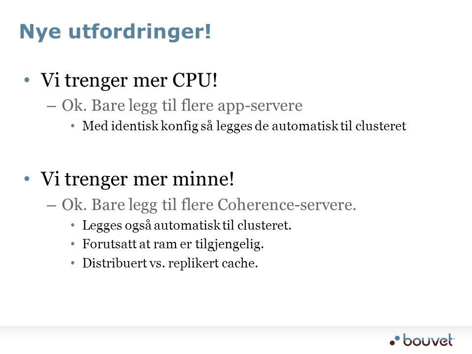 Nye utfordringer. • Vi trenger mer CPU. – Ok.