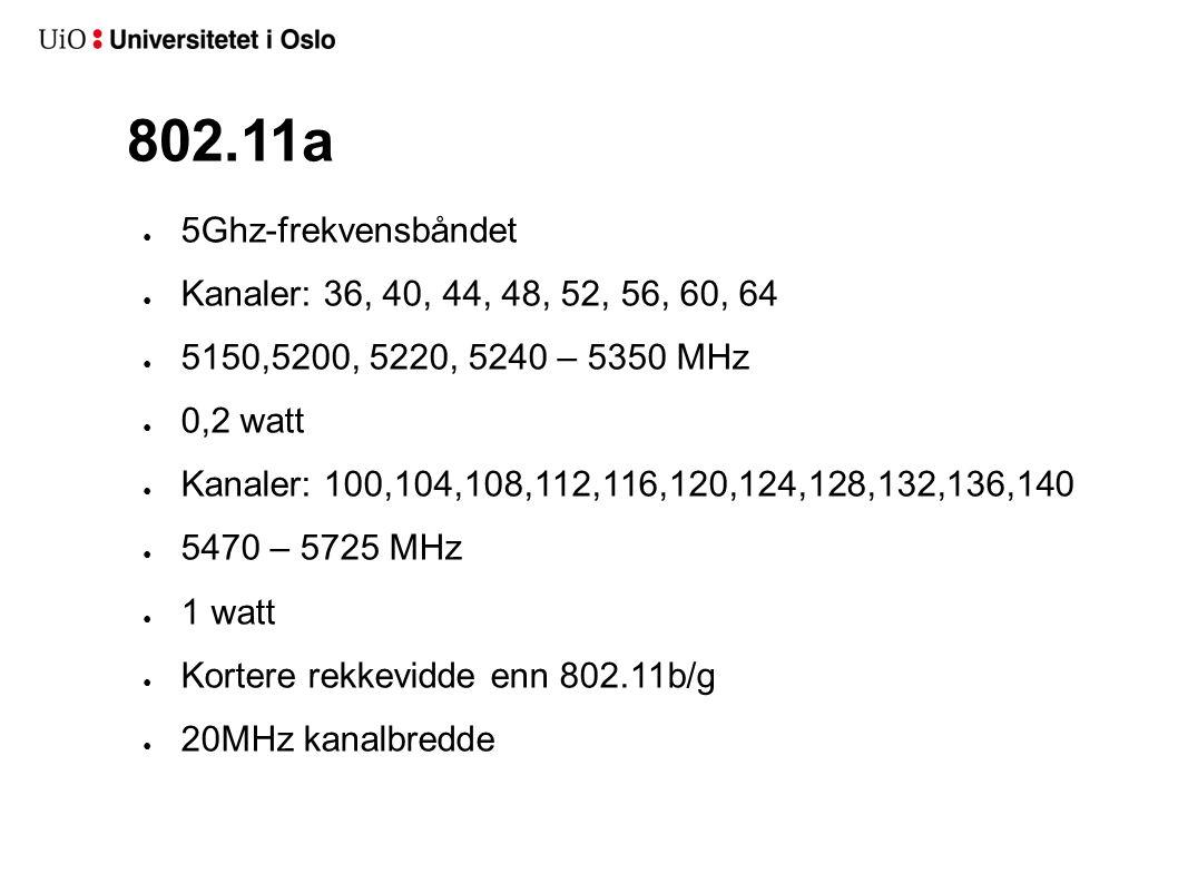 802.11a ● 5Ghz-frekvensbåndet ● Kanaler: 36, 40, 44, 48, 52, 56, 60, 64 ● 5150,5200, 5220, 5240 – 5350 MHz ● 0,2 watt ● Kanaler: 100,104,108,112,116,1