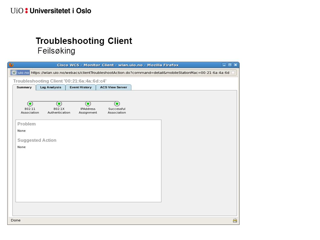Troubleshooting Client Feilsøking