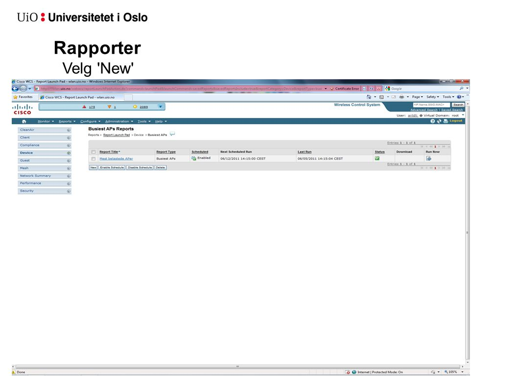 Rapporter Velg 'New'