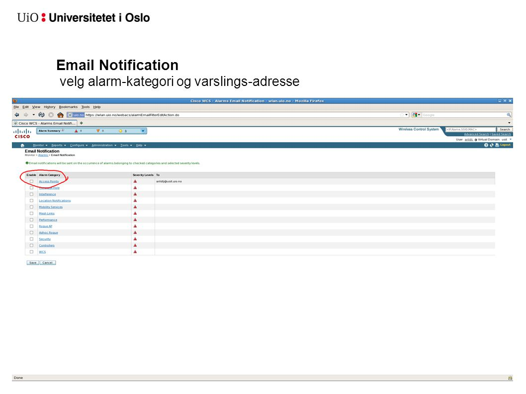 Email Notification velg alarm-kategori og varslings-adresse