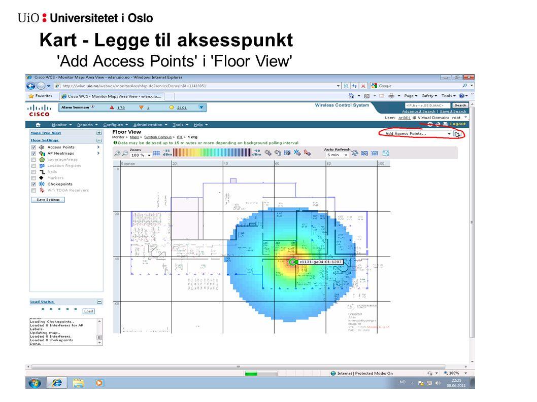 Kart - Legge til aksesspunkt 'Add Access Points' i 'Floor View'