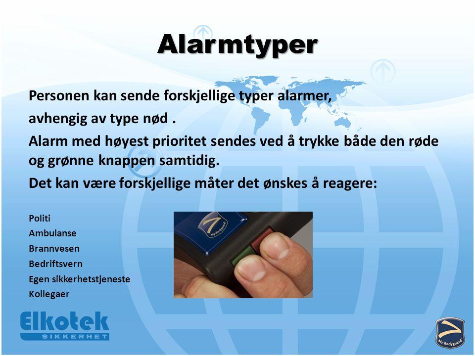 Personen kan sende forskjellige typer alarmer, avhengig av type nød.