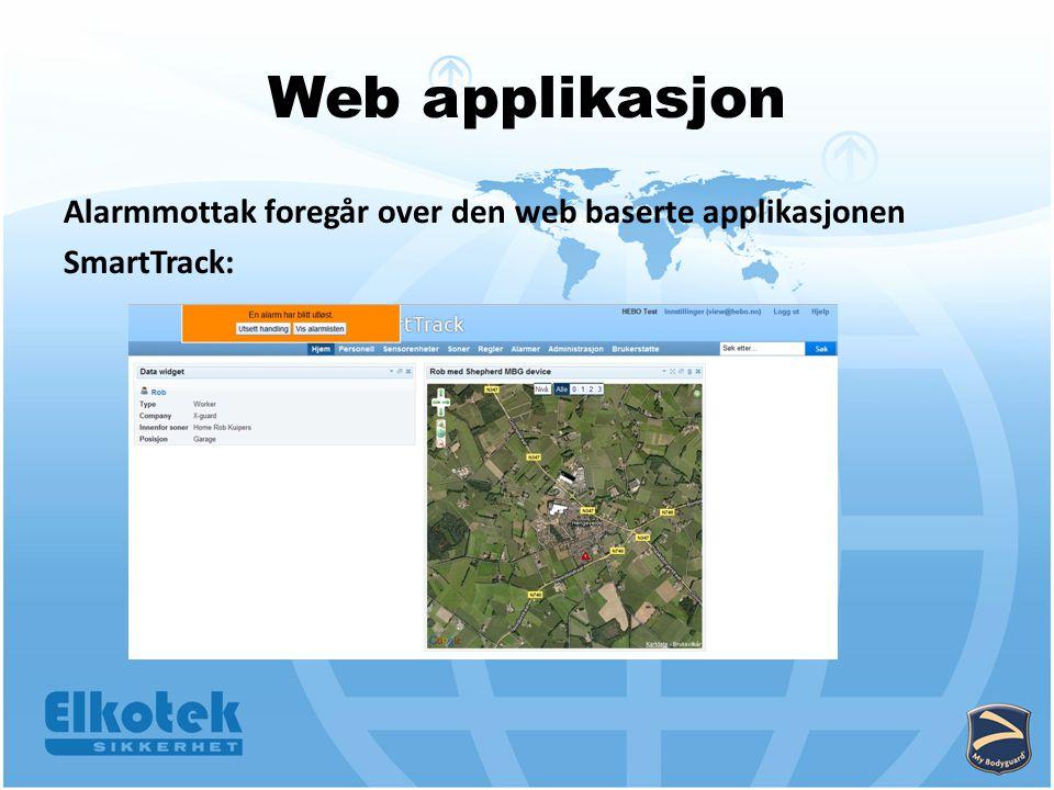 Web applikasjon Alarmmottak foregår over den web baserte applikasjonen SmartTrack:
