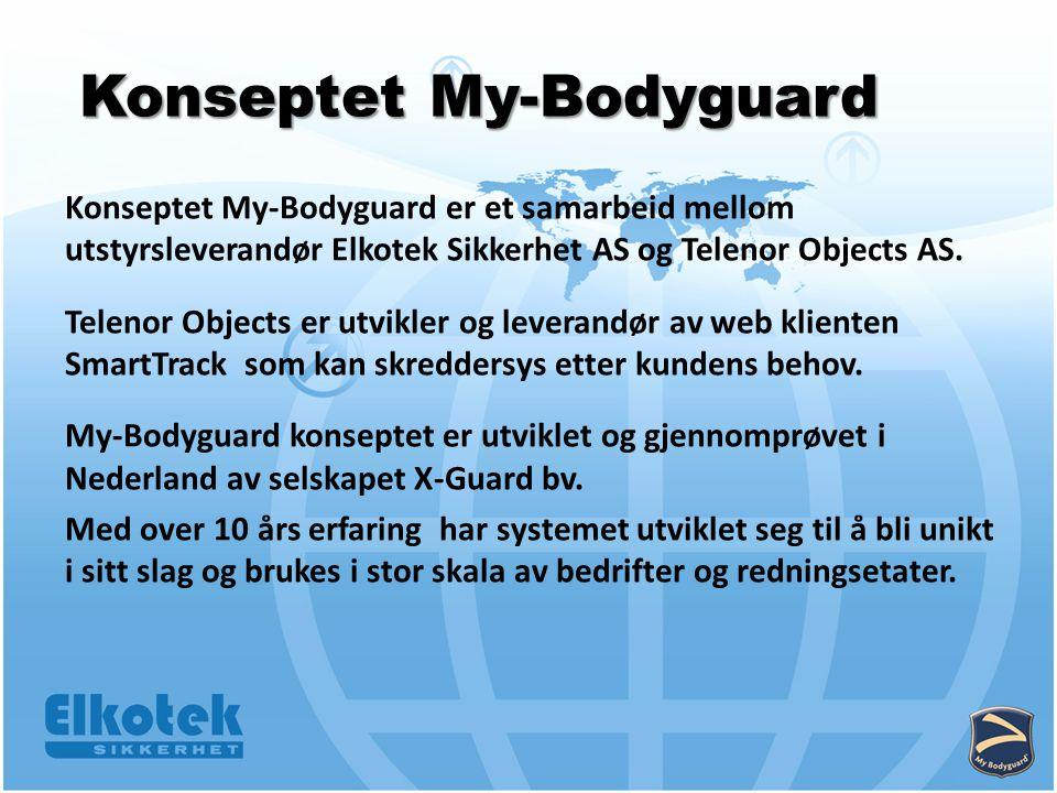 Konseptet My-Bodyguard Konseptet My-Bodyguard er et samarbeid mellom utstyrsleverandør Elkotek Sikkerhet AS og Telenor Objects AS.