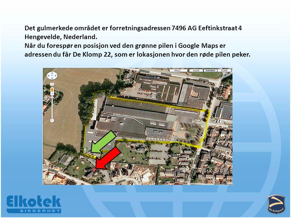 Det gulmerkede området er forretningsadressen 7496 AG Eeftinkstraat 4 Hengevelde, Nederland.