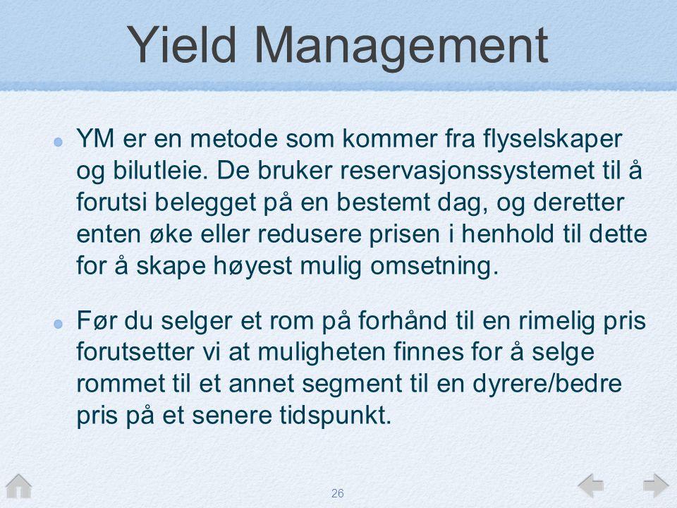 26 Yield Management YM er en metode som kommer fra flyselskaper og bilutleie. De bruker reservasjonssystemet til å forutsi belegget på en bestemt dag,