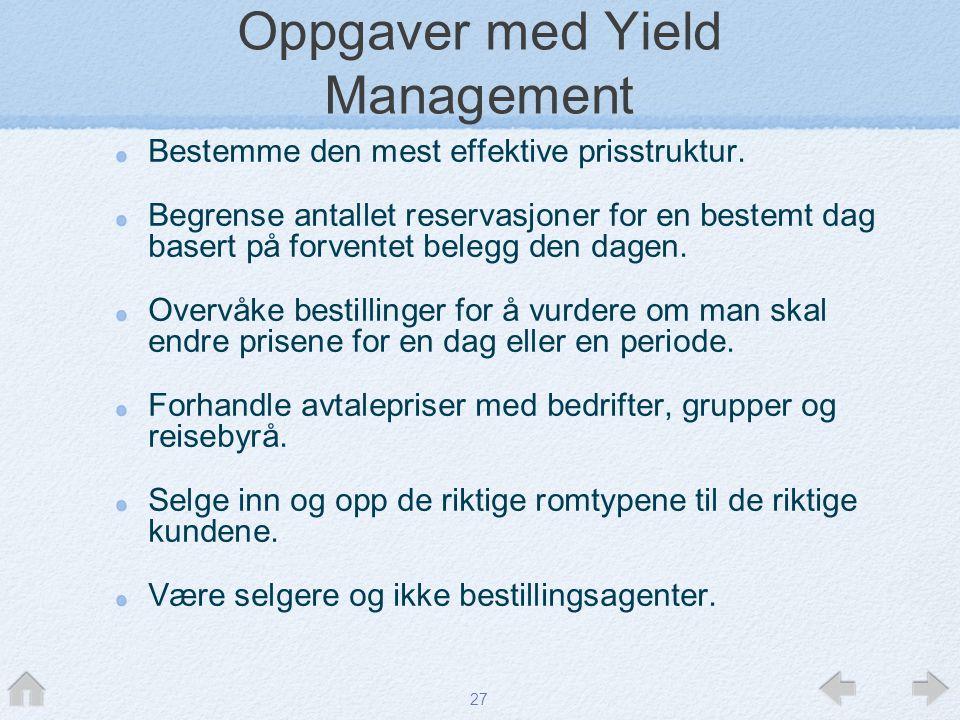 27 Oppgaver med Yield Management Bestemme den mest effektive prisstruktur. Begrense antallet reservasjoner for en bestemt dag basert på forventet bele