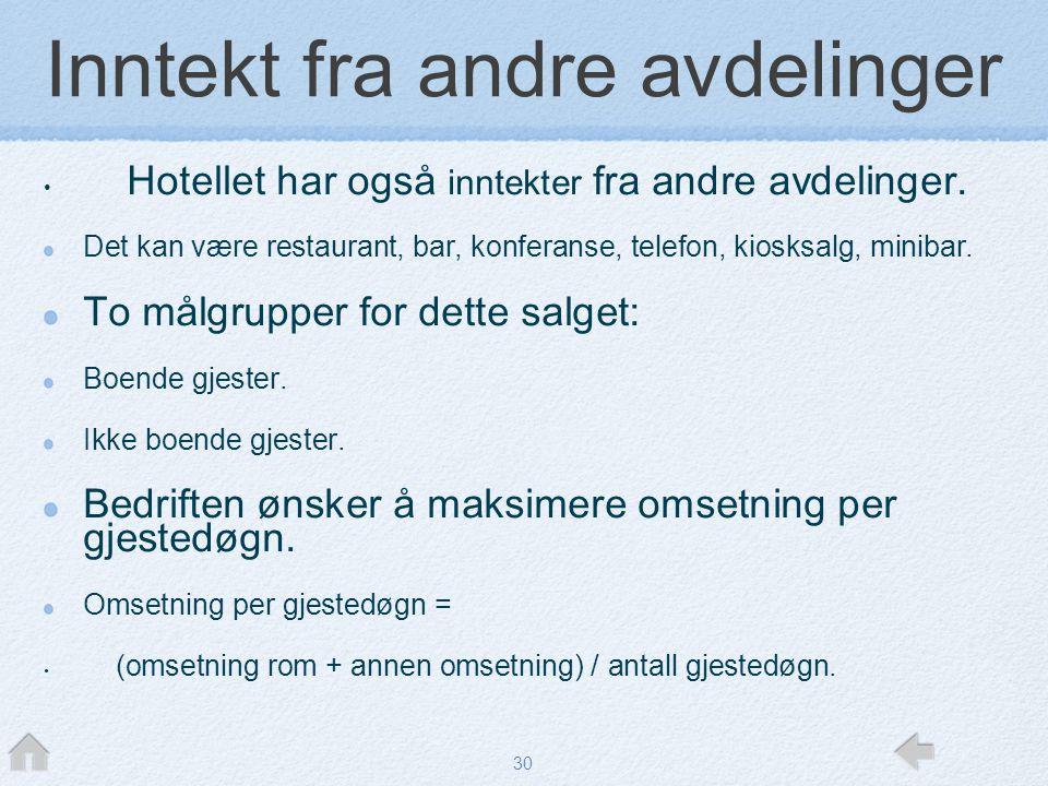 30 Inntekt fra andre avdelinger • Hotellet har også inntekter fra andre avdelinger. Det kan være restaurant, bar, konferanse, telefon, kiosksalg, mini