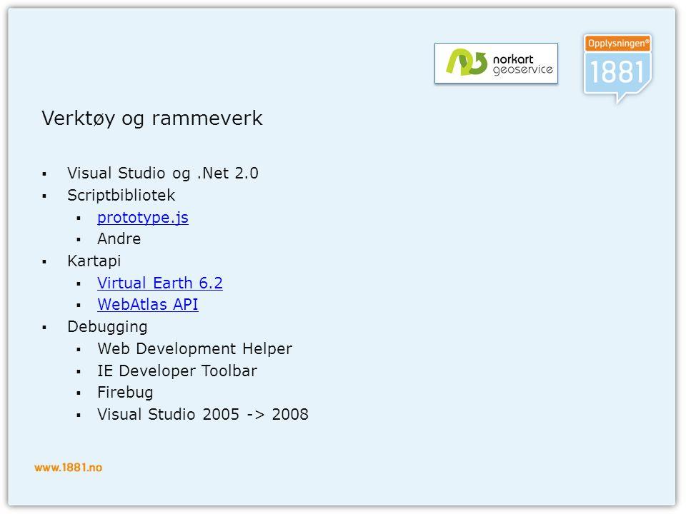 Verktøy og rammeverk  Visual Studio og.Net 2.0  Scriptbibliotek  prototype.js prototype.js  Andre  Kartapi  Virtual Earth 6.2 Virtual Earth 6.2