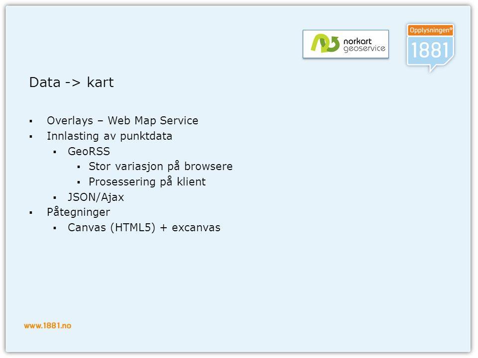 Data -> kart  Overlays – Web Map Service  Innlasting av punktdata  GeoRSS  Stor variasjon på browsere  Prosessering på klient  JSON/Ajax  Påteg