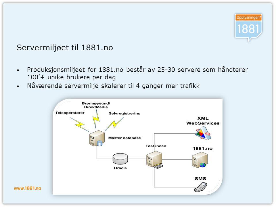 Servermiljøet til 1881.no • Produksjonsmiljøet for 1881.no består av 25-30 servere som håndterer 100'+ unike brukere per dag • Nåværende servermiljø skalerer til 4 ganger mer trafikk
