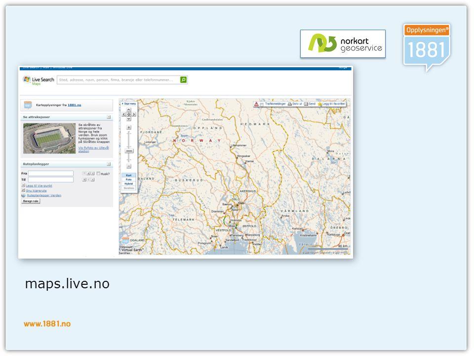 Virtual Earth SDK  Javascript API  Godt dokumentert / Community  Interaktiv SDK  Versjon 6.2  2D XHTML  3D activeX/plugins  Virtual Earth Web Services 1.0  Geokoding/reversert geokoding  Statiske bilder  Rutebeskrivelser  Søk