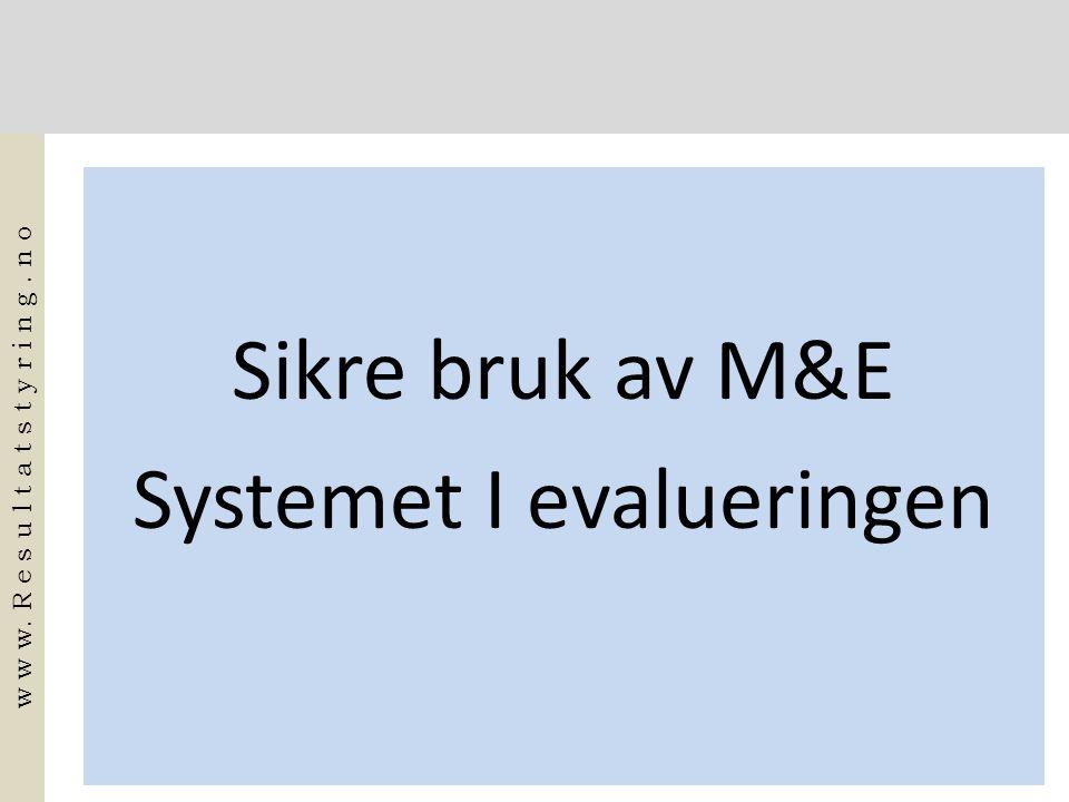 Sikre bruk av M&E Systemet I evalueringen w w w. R e s u l t a t s t y r i n g. n o