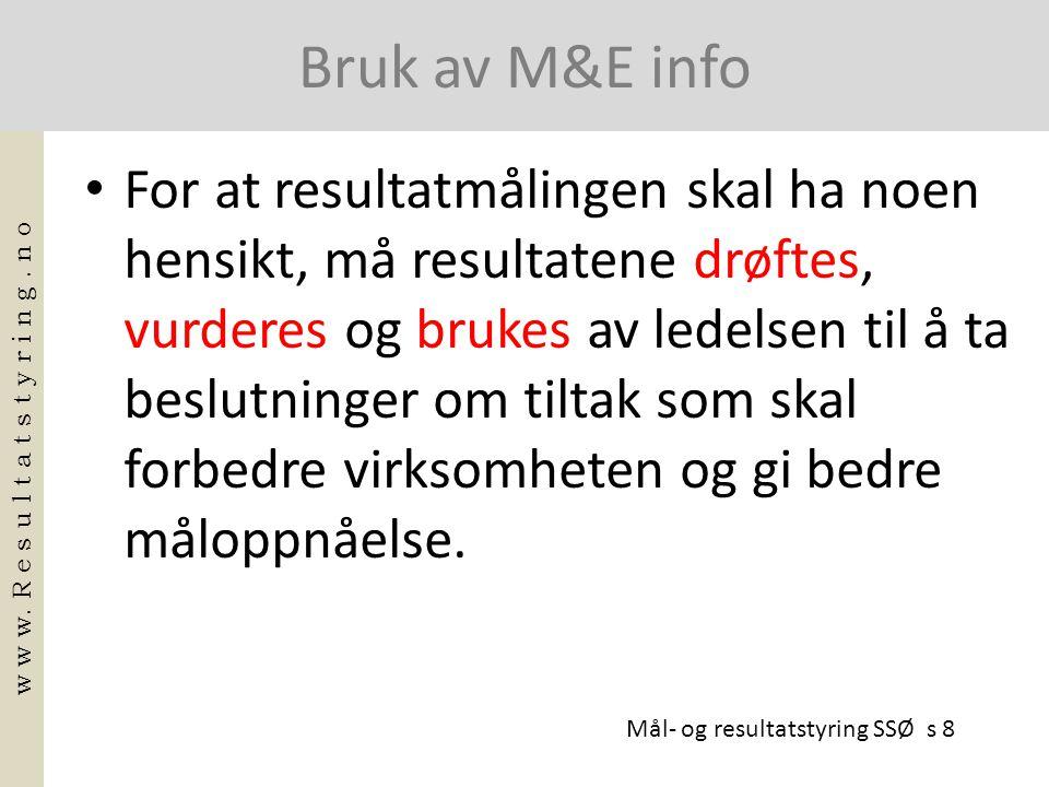 Bruk av M&E info • For at resultatmålingen skal ha noen hensikt, må resultatene drøftes, vurderes og brukes av ledelsen til å ta beslutninger om tilta