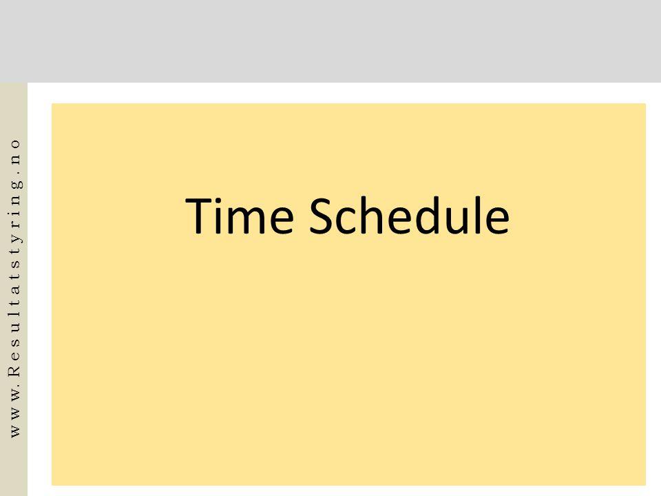 Time Schedule w w w. R e s u l t a t s t y r i n g. n o