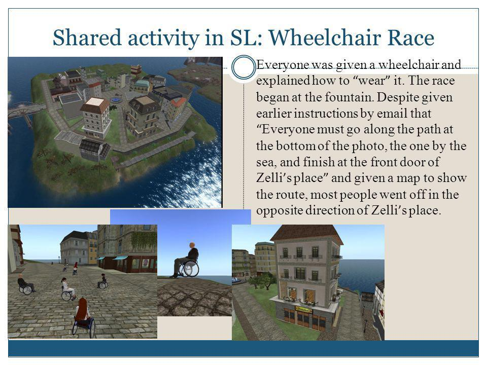 Shared activity in SL: Wheelchair Race Everyone was given a wheelchair and explained how to wear it.