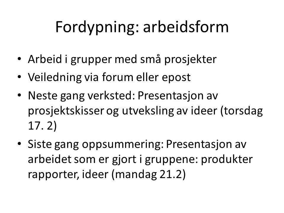 Fordypning: arbeidsform • Arbeid i grupper med små prosjekter • Veiledning via forum eller epost • Neste gang verksted: Presentasjon av prosjektskisse