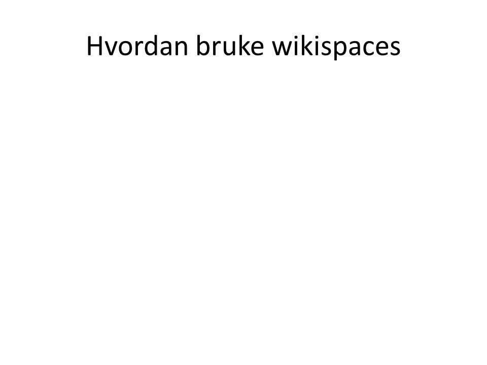 Hvordan bruke wikispaces