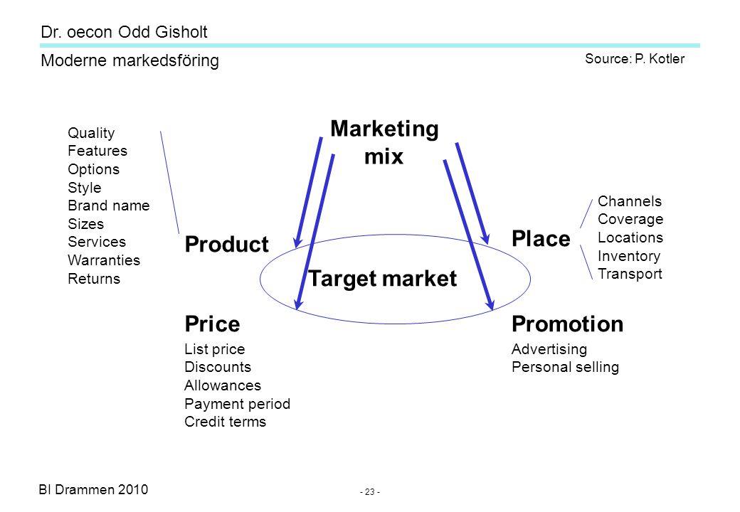 Dr. oecon Odd Gisholt - 22 - BI Drammen 2010 Moderne markedsföring Tactical marketing (short-term) Product development (branding) (b) Product developm