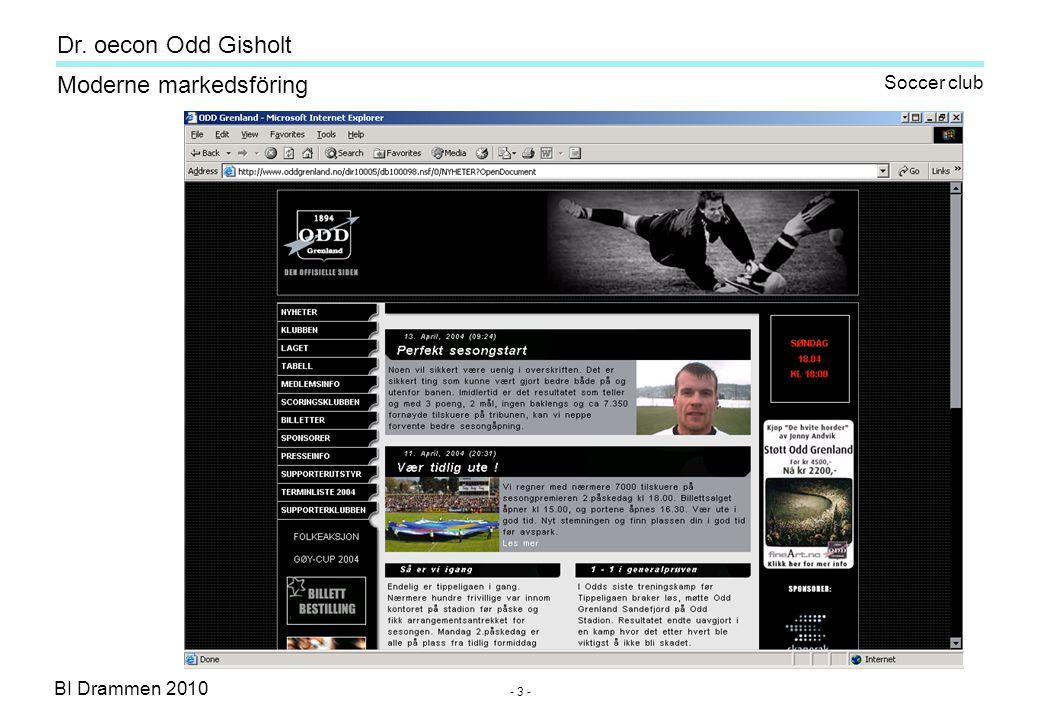 Dr. oecon Odd Gisholt - 63 - BI Drammen 2010 Moderne markedsföring twitter.com