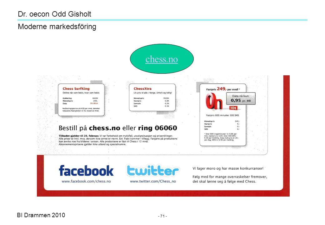 Dr. oecon Odd Gisholt - 70 - BI Drammen 2010 Moderne markedsföring Sosiale medier Hva er viktigst for annonsörene ? - fremover -Blogger 30% -Facebook