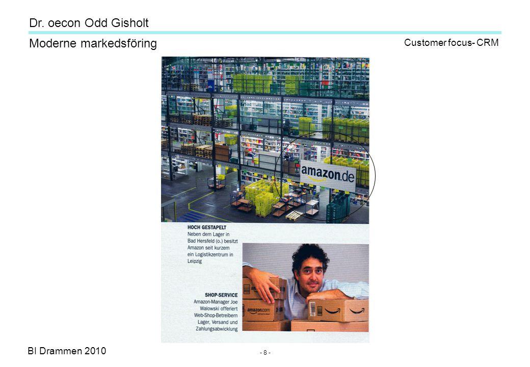 Dr. oecon Odd Gisholt - 8 - BI Drammen 2010 Moderne markedsföring Customer focus- CRM