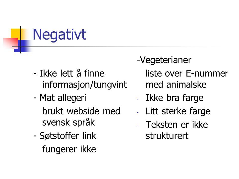 Negativt - Ikke lett å finne informasjon/tungvint - Mat allegeri brukt webside med svensk språk - Søtstoffer link fungerer ikke -Vegeterianer liste over E-nummer med animalske - Ikke bra farge - Litt sterke farge - Teksten er ikke strukturert