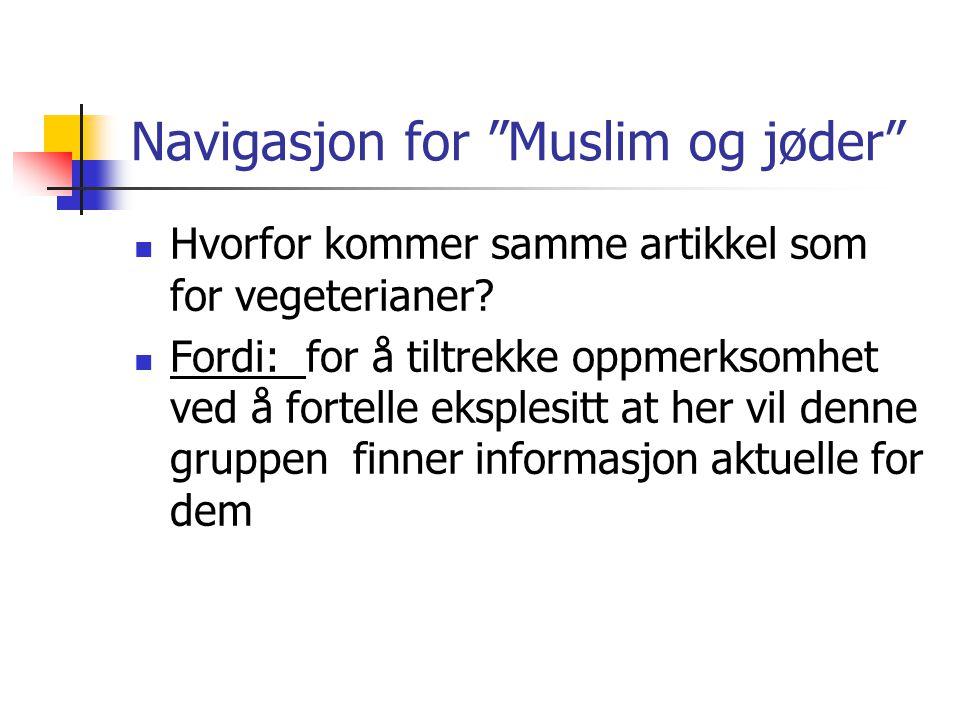 Navigasjon for Muslim og jøder  Hvorfor kommer samme artikkel som for vegeterianer.