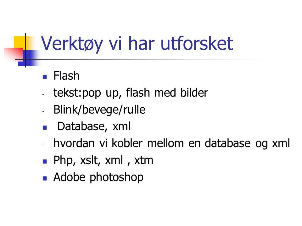 Verktøy vi har utforsket  Flash - tekst:pop up, flash med bilder - Blink/bevege/rulle  Database, xml - hvordan vi kobler mellom en database og xml  Php, xslt, xml, xtm  Adobe photoshop