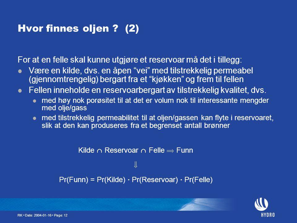 RK • Date: 2004-01-16 • Page: 12 Hvor finnes oljen ? (2) For at en felle skal kunne utgjøre et reservoar må det i tillegg:  Være en kilde, dvs. en åp