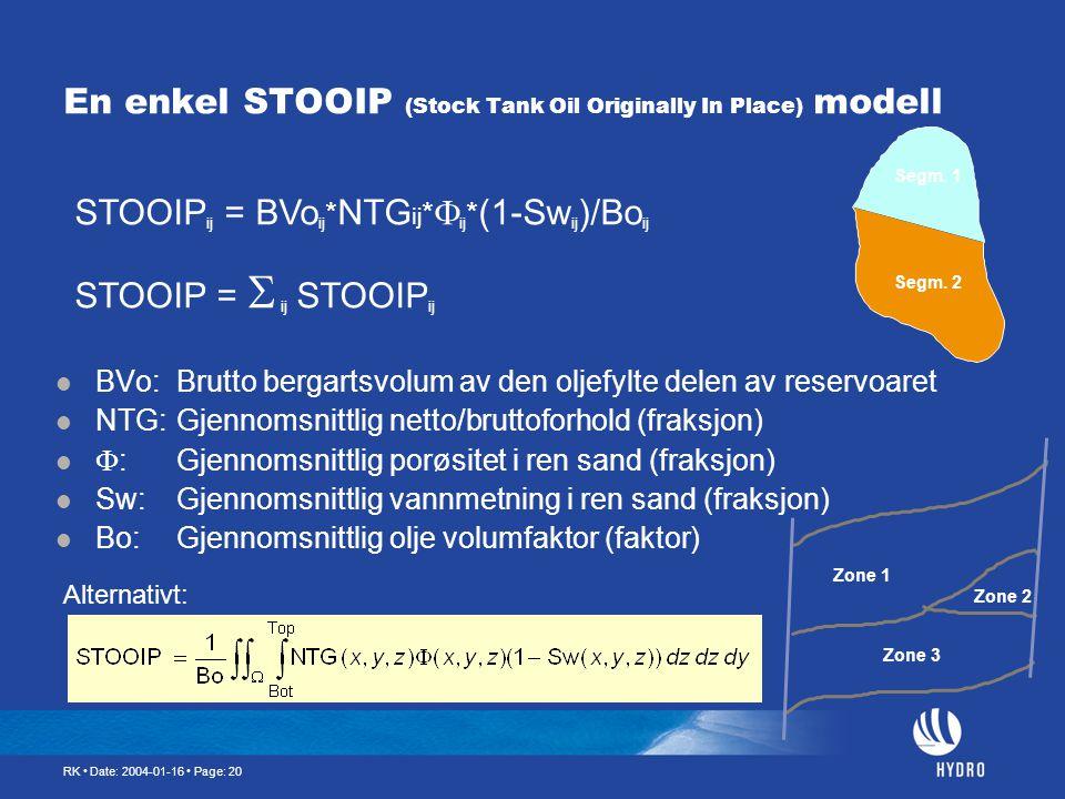 RK • Date: 2004-01-16 • Page: 20 En enkel STOOIP (Stock Tank Oil Originally In Place) modell  BVo:Brutto bergartsvolum av den oljefylte delen av rese