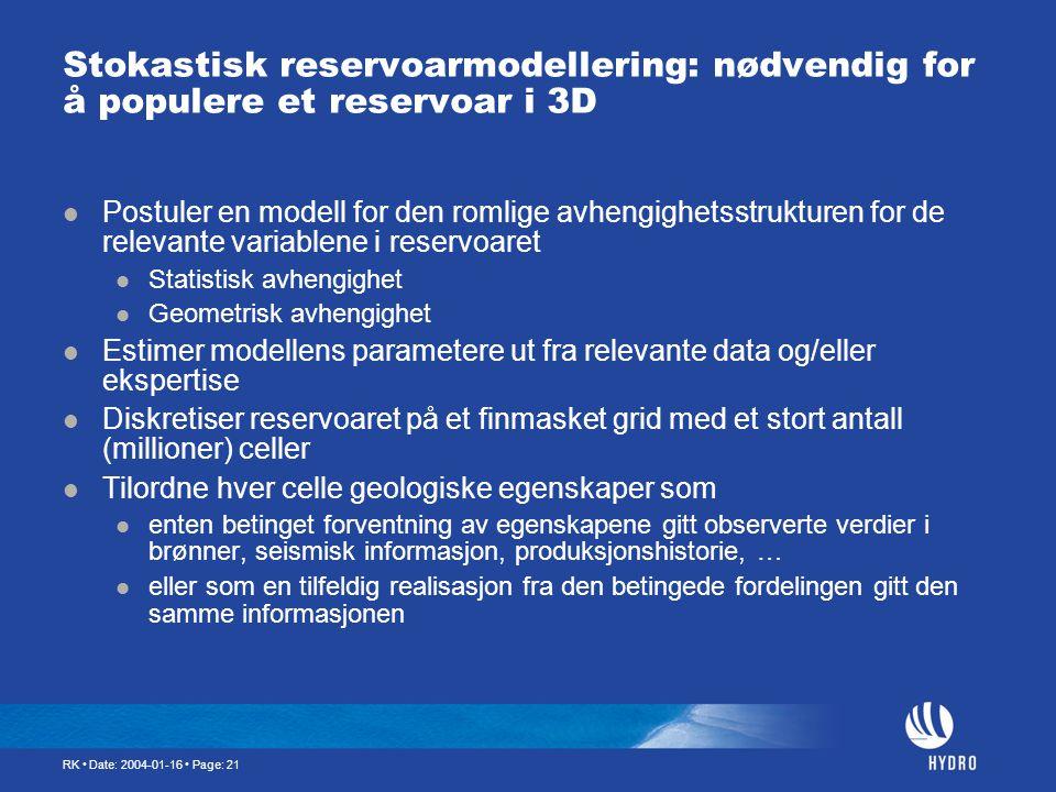 RK • Date: 2004-01-16 • Page: 21 Stokastisk reservoarmodellering: nødvendig for å populere et reservoar i 3D  Postuler en modell for den romlige avhe