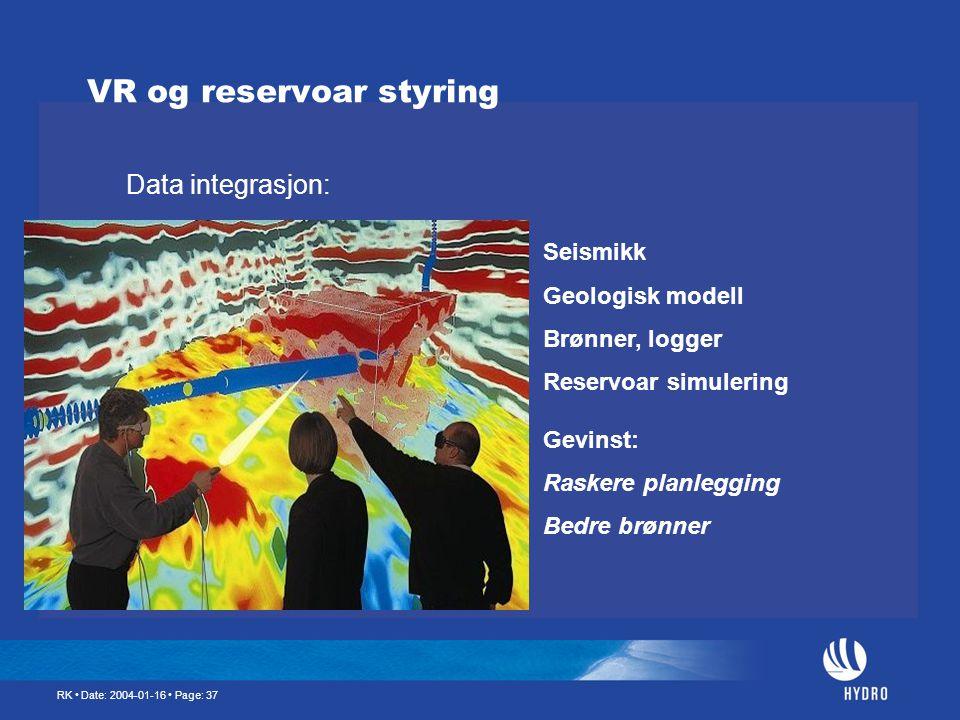 RK • Date: 2004-01-16 • Page: 37 VR og reservoar styring Data integrasjon: Seismikk Geologisk modell Brønner, logger Reservoar simulering Gevinst: Ras