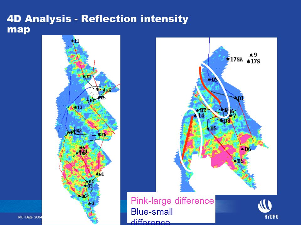 RK • Date: 2004-01-16 • Page: 39 4D Analysis - Reflection intensity map Pink-large difference Blue-small difference