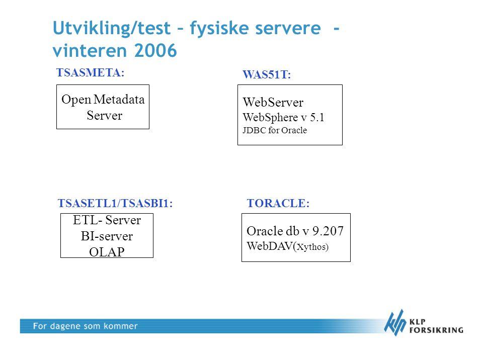 Open Metadata Server Utvikling/test – fysiske servere - vinteren 2006 ETL- Server BI-server OLAP Oracle db v 9.207 WebDAV( Xythos) TSASMETA: TSASETL1/