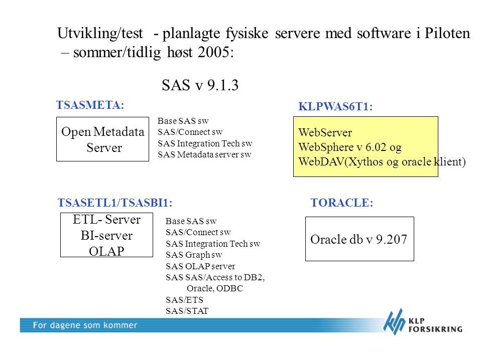Erfaringer med installasjonen høsten 2005 •For dårlig planlegging, installasjonen tok mye lengre tid enn planlagt  for mange ressurser fra SAS var involvert •SAS hadde ingen beste praksis eller liten erfaring med installasjon av SAS9 •KLPs tekniske ressurs skulle vært frigjort 100 % til prosjektet •Piloten (gjennomføring av et pilotprosjekt) ble startet før installasjonen fungerte/var akseptert •SAS Portal fungerte ikke sammen med WebSphere 6.02 – ble testet •WEB Report Studio – Filter &Rank fungerte ikke i KLPs miljø •QA av SAS installasjonen ble gjennomført av SAS –Sjekke at rette versjoner av software var installert –Sjekke at softwaren fungerte sammen –Organisering av miljøet på metadataserveren •Viktig å gjennomføre akseptansekriterier, men vanskelig pga at KLP ikke hadde klart å opparbeide god nok kompetanse (for kort tid, for omfattende)