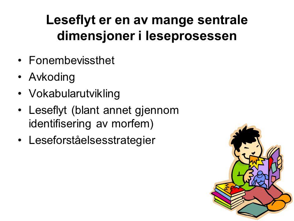 10 Leseflyt er en av mange sentrale dimensjoner i leseprosessen •Fonembevissthet •Avkoding •Vokabularutvikling •Leseflyt (blant annet gjennom identifisering av morfem) •Leseforståelsesstrategier