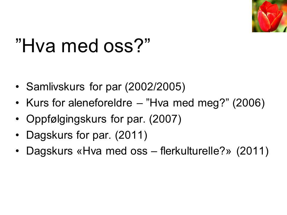"""•Samlivskurs for par (2002/2005) •Kurs for aleneforeldre – """"Hva med meg?"""" (2006) •Oppfølgingskurs for par. (2007) •Dagskurs for par. (2011) •Dagskurs"""
