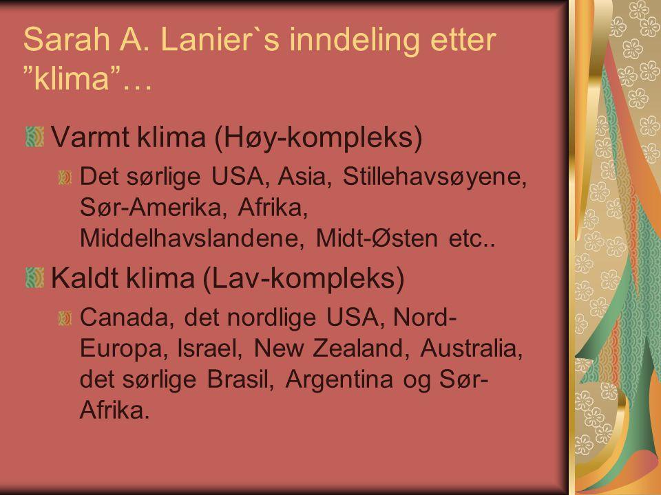 """Sarah A. Lanier`s inndeling etter """"klima""""… Varmt klima (Høy-kompleks) Det sørlige USA, Asia, Stillehavsøyene, Sør-Amerika, Afrika, Middelhavslandene,"""