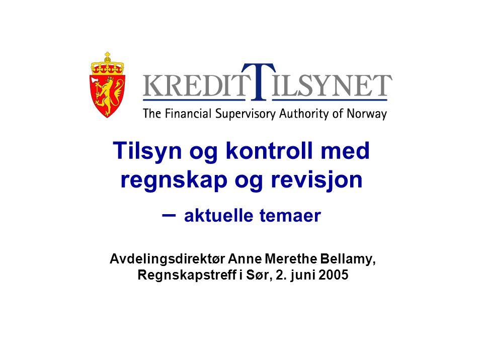 Tilsyn og kontroll med regnskap og revisjon – aktuelle temaer Avdelingsdirektør Anne Merethe Bellamy, Regnskapstreff i Sør, 2. juni 2005