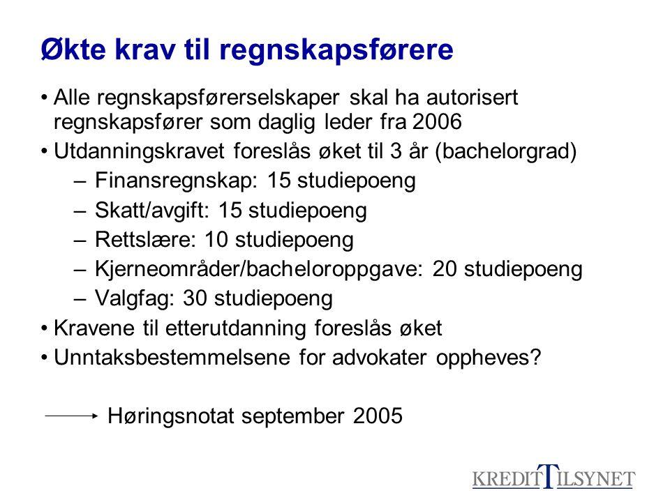 Økte krav til regnskapsførere •Alle regnskapsførerselskaper skal ha autorisert regnskapsfører som daglig leder fra 2006 •Utdanningskravet foreslås øke