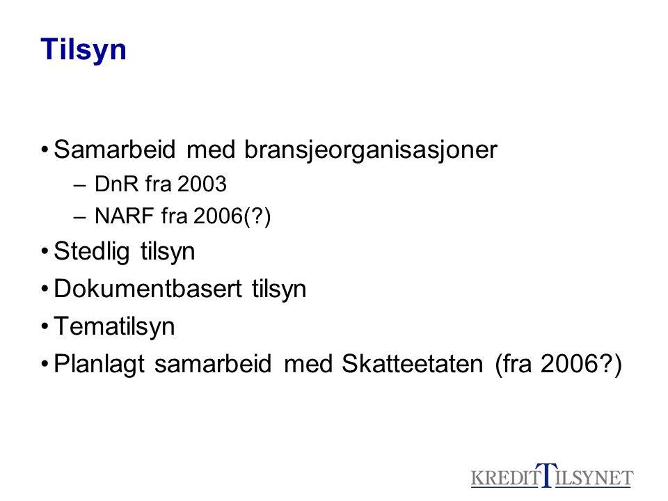 Tilsyn •Samarbeid med bransjeorganisasjoner –DnR fra 2003 –NARF fra 2006(?) •Stedlig tilsyn •Dokumentbasert tilsyn •Tematilsyn •Planlagt samarbeid med