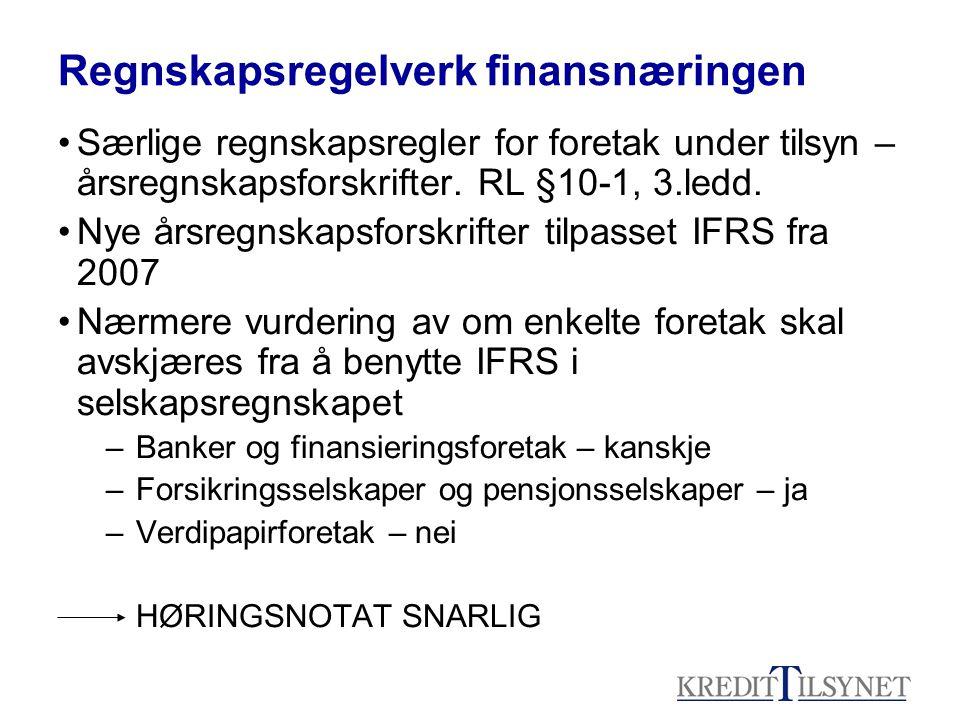 Regnskapsregelverk finansnæringen •Særlige regnskapsregler for foretak under tilsyn – årsregnskapsforskrifter. RL §10-1, 3.ledd. •Nye årsregnskapsfors