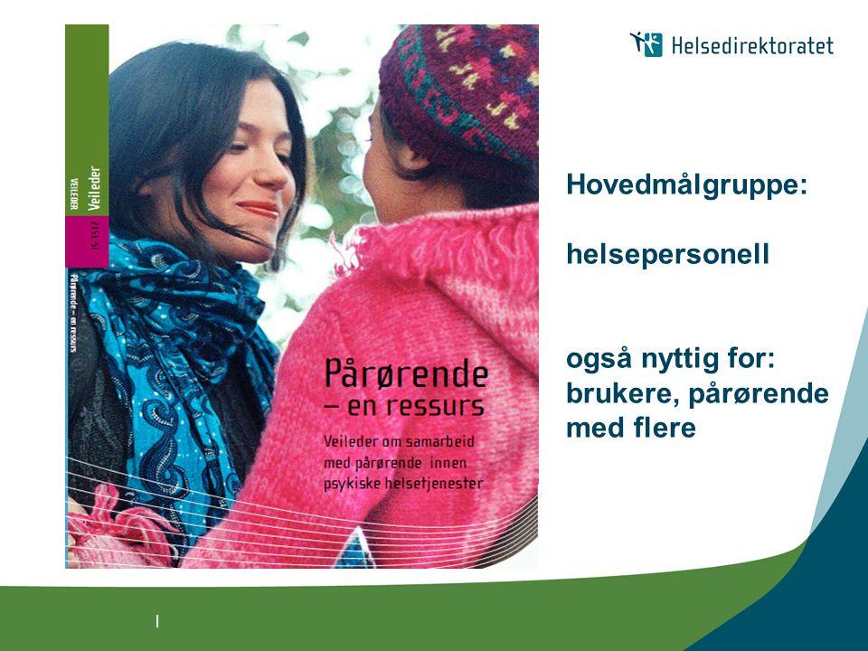 | Veilederens formål: Sikre at pårørende som deltar i omsorgen til mennesker med psykiske vansker får  nødvendig informasjon  støtte og avlastning  pårørendes kunnskap og erfaringer anerkjennes og benyttes i pasientbehandlingen