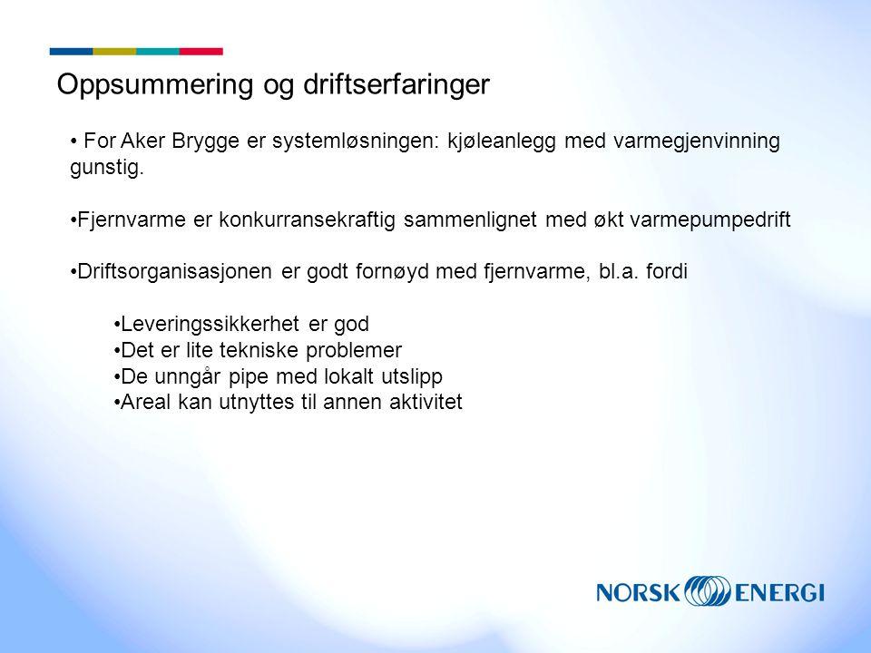 Oppsummering og driftserfaringer • For Aker Brygge er systemløsningen: kjøleanlegg med varmegjenvinning gunstig.