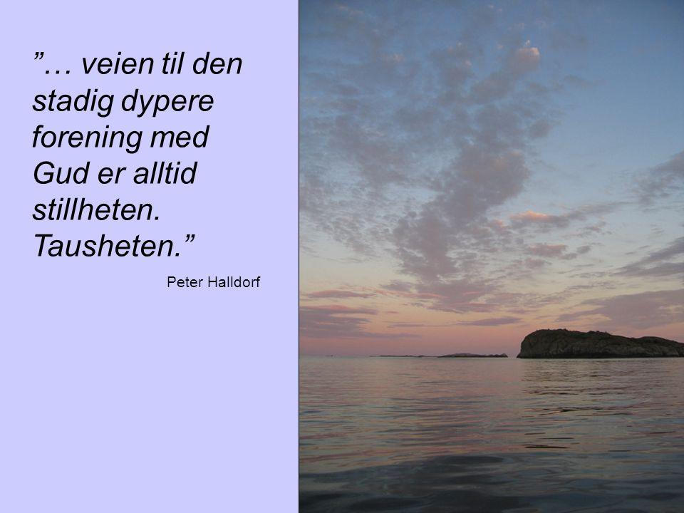"""""""… veien til den stadig dypere forening med Gud er alltid stillheten. Tausheten."""" Peter Halldorf"""