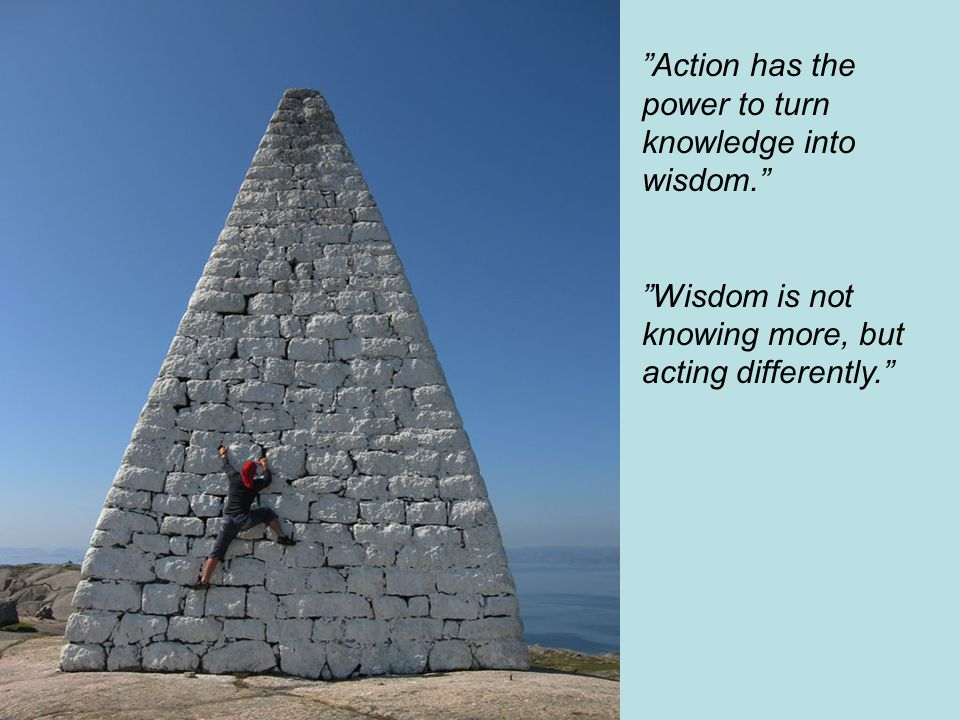 Action has the power to turn knowledge into wisdom. Wisdom is not knowing more, but acting differently.