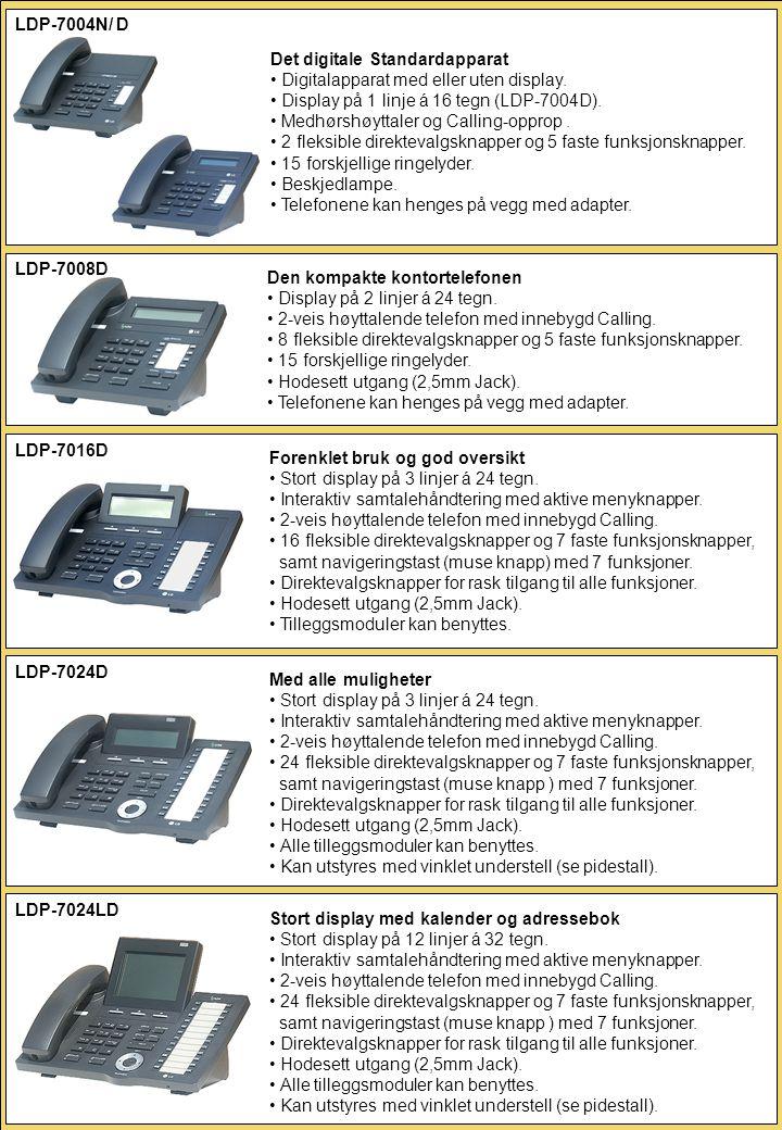 Det digitale Standardapparat • Digitalapparat med eller uten display. • Display på 1 linje á 16 tegn (LDP-7004D). • Medhørshøyttaler og Calling-opprop