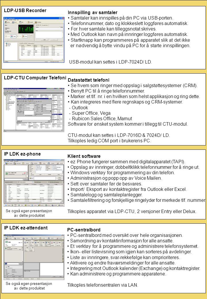 IP LDK ez-phone Klient software • ez Phone fungerer sammen med digitalapparatet (TAPI). • Oppslag av innringer, dobbeltklikk telefonnummer for å ringe